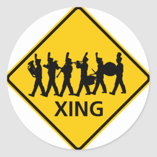Marching Band Crossing Highway Sign Classic Round Sticker