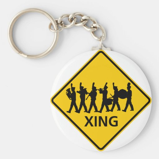 Marching Band Crossing Highway Sign Key Chain