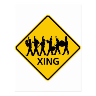 Marching Band Crossing Highway Sign Postcard