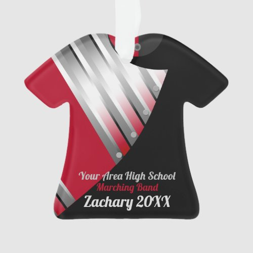 Marching Band Custom Red Silver and Black Ornament