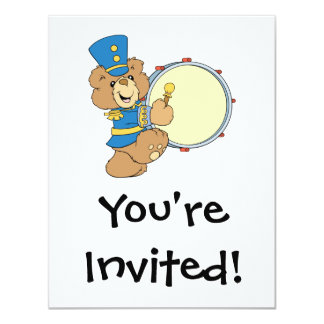 Marching Band Drummer Bear 4.25x5.5 Paper Invitation Card