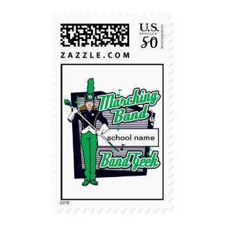 Marching Band Geek Green Postage