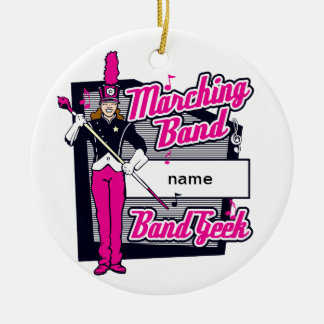 Marching Band Geek Pink Ceramic Ornament