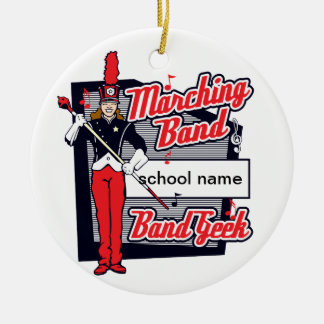 Marching Band Geek Red Ceramic Ornament
