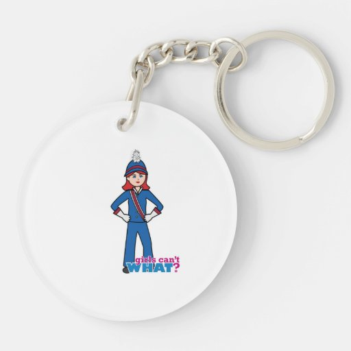 Marching Band Girl Light/Red Double-Sided Round Acrylic Keychain