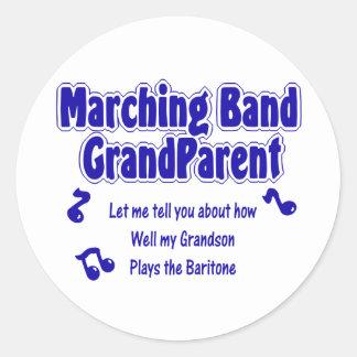 Marching Band Grandparent/ Baritone Classic Round Sticker