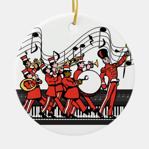 Marching Band Horns Piano Keyboard and Music Notes Double-sided Ceramic Round Christmas Ornament