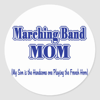 Marching Band Mom/ French Horn Classic Round Sticker
