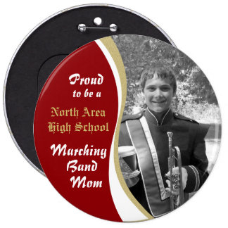 Marching Band Mom with Photo Dark Red Button