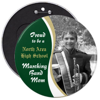 Marching Band Mom with Photo Pinback Button