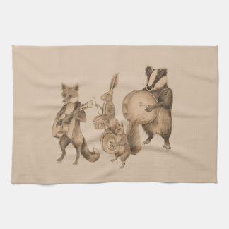 Marching band of animals kitchen towel