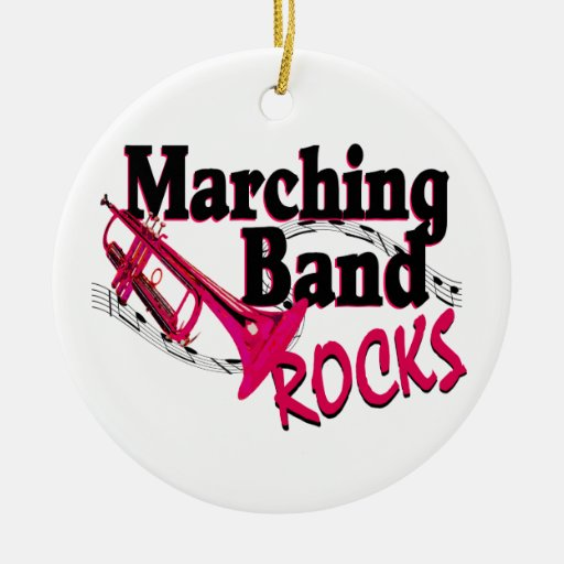 Marching band rocks double sided ceramic round christmas