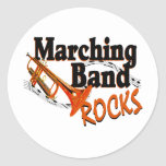 Marching Band Rocks Round Stickers