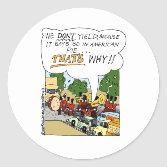 Marching Band Yields Funny Offbeat Cartoon Gifts Classic Round Sticker