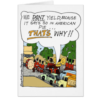 Marching Band Yields Funny Offbeat Cartoon Gifts Greeting Card
