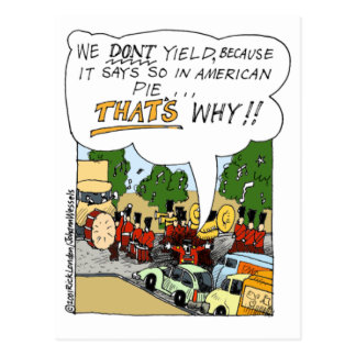 Marching Band Yields Funny Offbeat Cartoon Gifts Postcard