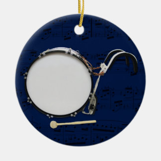 Marching Bass Drum - Pick your color Double-Sided Ceramic Round Christmas Ornament