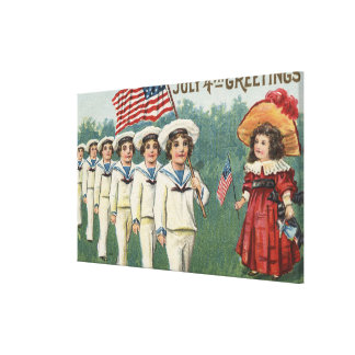 Marching Boys Dressed as Sailors Gallery Wrapped Canvas