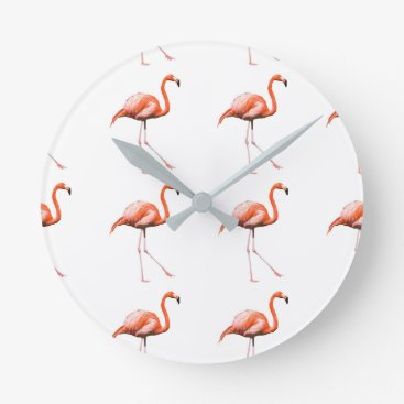 Beach Themed Marching Flamingos Round Clock