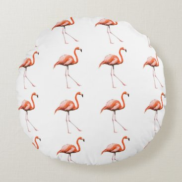 Beach Themed Marching Flamingos Round Pillow