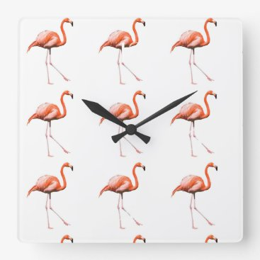 Beach Themed Marching Flamingos Square Wall Clock