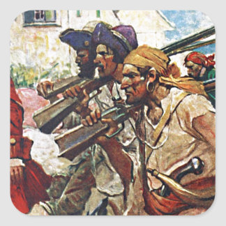 Marching Pirates Redcoat Illustration Square Sticker
