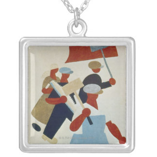 Marching Protestors Silver Plated Necklace