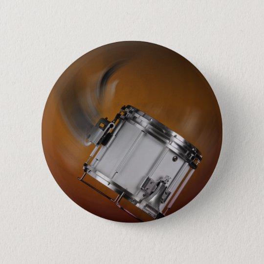 Marching Snare Drum on Gold Pinback Button