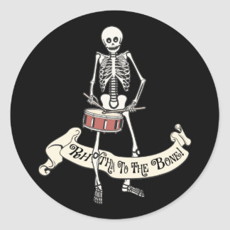 Marching Snare Drum Skeleton Classic Round Sticker
