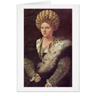 Marchioness de Isabel D Este de Mantua por Titian Tarjetón