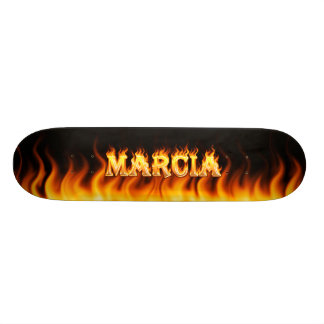 Marcia skateboard fire and flames design.