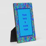 Marco abstracto azul multicolor del cuadrado del r placas de plastico