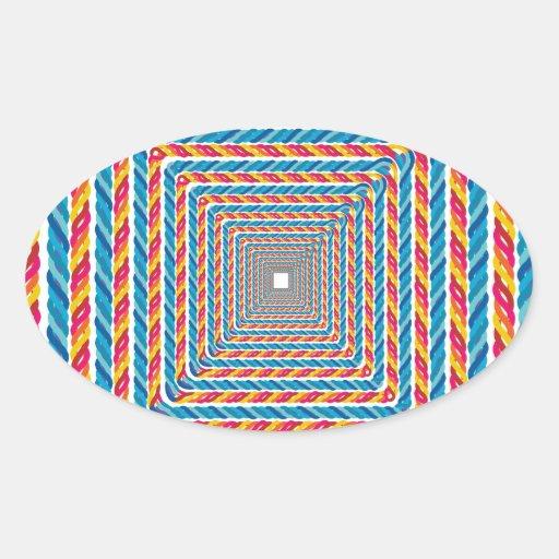 marco abstracto de la cuerda calcomania ovalada