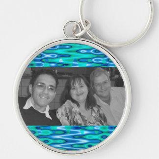 Marco abstracto de la foto de las azules turquesas llavero personalizado
