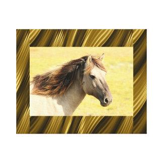Marco abstracto de las rayas con el caballo lienzo envuelto para galerias