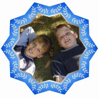 Marco adaptable de la foto del ornamento azul del  adorno fotoescultura