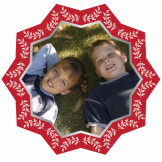 Marco adaptable de la foto del ornamento rojo del  adorno fotoescultura