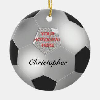 Marco adaptable de plata de la foto del balón de adorno navideño redondo de cerámica