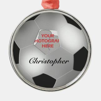 Marco adaptable de plata de la foto del balón de f adorno de navidad