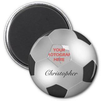 Marco adaptable de plata de la foto del balón de imán redondo 5 cm
