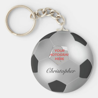 Marco adaptable de plata de la foto del balón de llavero redondo tipo pin