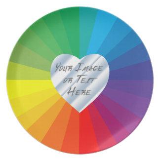 Marco adaptable del corazón: Colección del espectr Platos