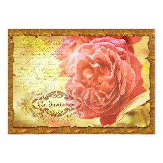 """Marco adornado color de rosa rosado coralino de invitación 5"""" x 7"""""""