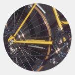 Marco amarillo de ciclo de la bici del ciclo de la pegatina redonda