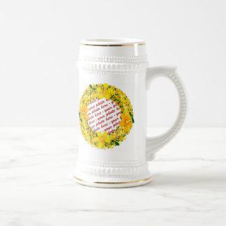 Marco amarillo de la foto de la flor taza