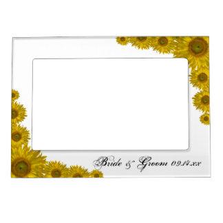 Marco amarillo del boda del borde del girasol marcos magneticos de fotos