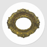 Marco antiguo del oro etiquetas redondas
