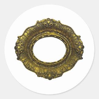 Marco antiguo del oro pegatina redonda