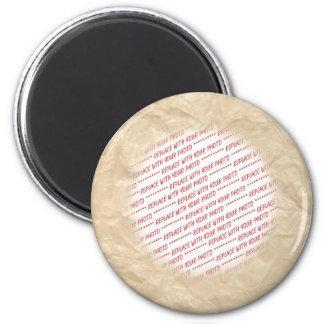 Marco arrugado de la foto del papel de la arruga imán para frigorífico