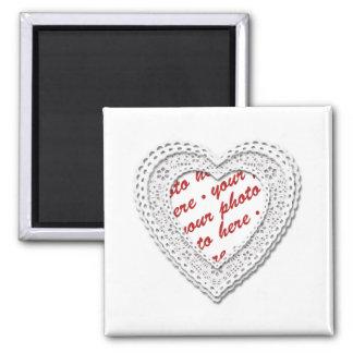 Marco atado blanco de la foto del corazón imán cuadrado